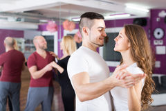 Couples having dancing class Stock Photography