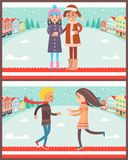 Couples Having Fun in Winter Vector Illustration. Couples having fun in winter, poster with cityscape of buildings and trees, boy and girl standing and holding Stock Photo