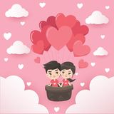 Couples in a heart shaped balloon. stock illustration