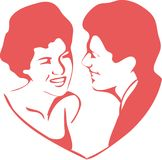 Couples in the the heart. Vintage style couples in the the heart Stock Photo
