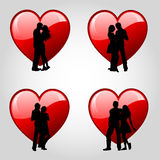Couples and hearts stock illustration