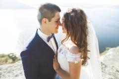 Couples heureux élégants élégants de mariage, jeune mariée, marié magnifique sur le fond de la mer et ciel Images libres de droits