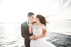 Couples heureux élégants élégants de mariage, jeune mariée, marié magnifique sur le fond de la mer et ciel Image libre de droits