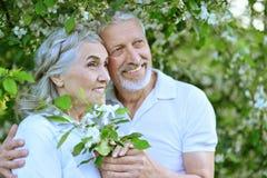 Couples heureux étreignant au printemps le parc Image libre de droits