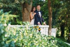 Couples heureux étreignant en parc La jeune mariée dans un costume noir et jeune mariée dans une belle robe de mariage blanche Jo Photo libre de droits