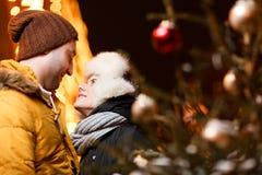Couples heureux étreignant l'hiver Images stock
