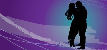 Couples heureux affectueux Silhouette de vecteur - couples dans l'amour ENV illustration stock