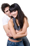 Couples heureux (avec le chemin de découpage) Image libre de droits