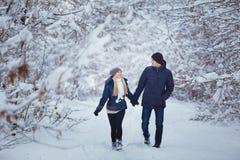 Couples heureux ayant l'amusement dehors dans le parc de neige Vacances de l'hiver Photographie stock