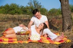 Couples heureux ayant un pique-nique en été images stock