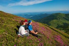 Couples heureux détendant parmi les rhododendrons roses fleurissants Photographie stock