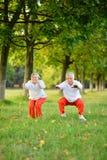 Couples heureux d'aîné d'ajustement Photos stock