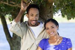 Couples heureux d'Afro-américain sous un arbre images stock