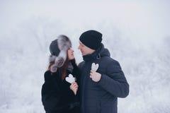 Couples heureux d'amour dans la forêt au coeur de papier d'hiver, de promenade, de baiser, d'étreinte et de prise en parc - jour  Photos stock