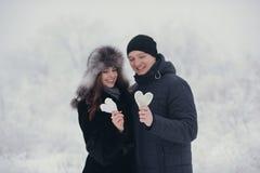 Couples heureux d'amour dans la forêt au coeur de papier d'hiver, de promenade, de baiser, d'étreinte et de prise en parc - jour  Photographie stock