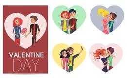 Couples heureux dans des paires d'amour de cadre réglé par filles de garçons Image libre de droits