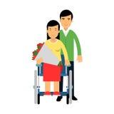 Couples heureux dans l'amour, femme handicapée dans le fauteuil roulant avec le bouquet des fleurs dans son illustration colorée  illustration stock