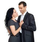 Couples heureux dans l'amour, personnes romantiques d'isolement sur le fond blanc Photos libres de droits