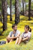 Couples heureux dans la forêt Photos stock