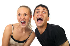 Couples heureux de cri photos stock