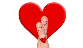 Couples heureux de doigt dans l'amour célébrant le Saint Valentin Photographie stock