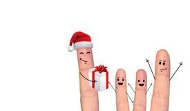 Couples heureux de doigt dans l'amour célébrant Noël Photographie stock