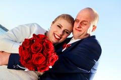 Couples heureux de jour du mariage Images libres de droits