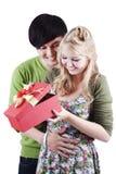 Couples heureux de mélange d'isolement sur le blanc Photos libres de droits