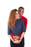 Couples heureux de métis étreignant au-dessus d'un fond blanc Image libre de droits