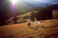 Couples heureux de mariage courant et ayant l'amusement sur le champ entouré par des montagnes Photo libre de droits