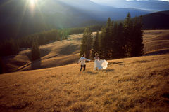 Couples heureux de mariage courant et ayant l'amusement sur le champ entouré par des montagnes Images stock
