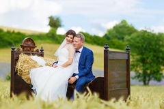 Couples heureux de mariage dans le domaine de blé Photographie stock libre de droits