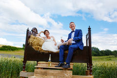 Couples heureux de mariage dans le domaine de blé Image libre de droits