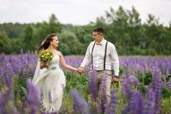 Couples heureux de mariage dans le lupin Image stock