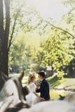 Couples heureux de mariage de conte de fées marchant tenant des mains dans le pair Image libre de droits