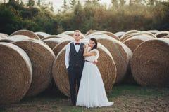 Couples heureux de mariage en Italie Jeunes couples dans l'amour en Toscane Photo libre de droits