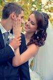 Couples heureux de mariage Mariée et marié le jour du mariage Photo libre de droits