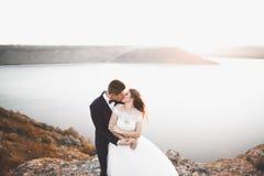 Couples heureux de mariage restant au-dessus du beau paysage Photos libres de droits