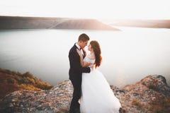Couples heureux de mariage restant au-dessus du beau paysage Photographie stock libre de droits
