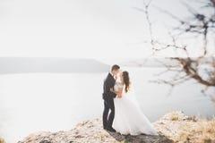 Couples heureux de mariage restant au-dessus du beau paysage Photo libre de droits