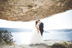 Couples heureux de mariage restant au-dessus du beau paysage Photo stock
