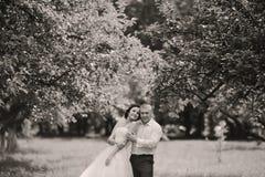 Couples heureux de mariage sur la nature Image libre de droits