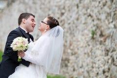 Couples heureux de nouveaux mariés image stock