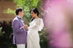 Couples heureux de nouveaux mariés, jeunes mariés tenant des mains en parc Images libres de droits