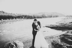 Couples heureux de nouveaux mariés posant et souriant dans la robe et le costume de mariage extérieurs, noir et blanc Images stock