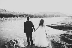 Couples heureux de nouveaux mariés posant et souriant dans la robe et le costume de mariage extérieurs, noir et blanc Photos stock