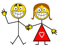 Couples heureux de sourire illustration de vecteur