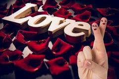 Couples heureux de visage de doigt dans l'amour Photos libres de droits