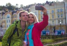 Couples heureux des vacances de vacances de voyage romantique Photographie stock libre de droits