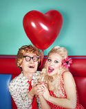 Couples heureux drôles Photos libres de droits